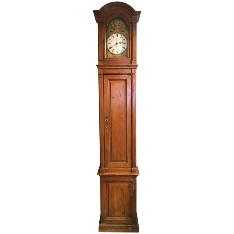 19th Century, French Red Pine Grandfather Clock
