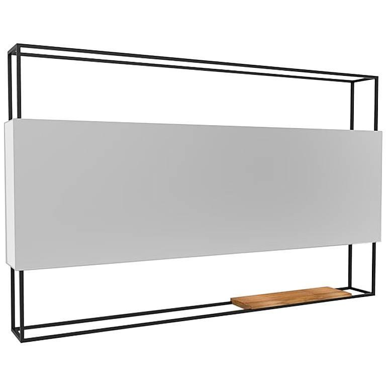 Black Horizontal Frame Minimal Contemporary Mirror with Movable Oak Shelf For Sale