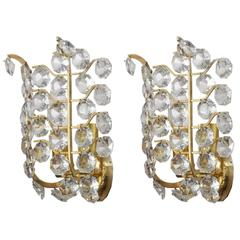 Pair of Crystal Glass Wall Sconces by Bakalowits und Söhne