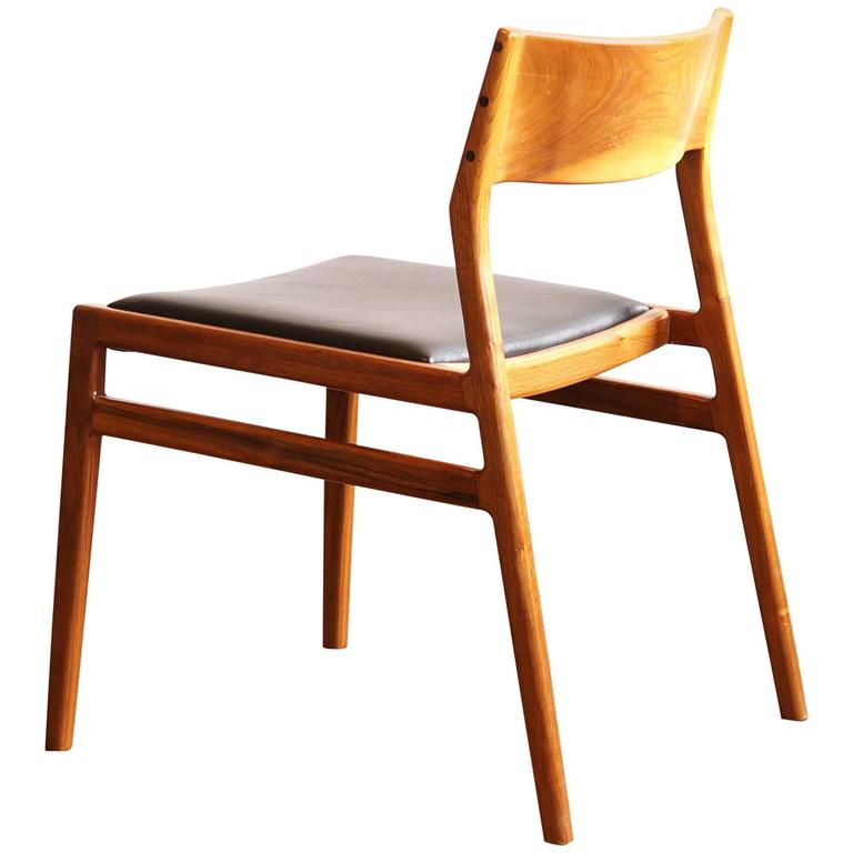 C03.  Solid Walnut Dining Chair with Leather Seat by Jason Lewis Furniture