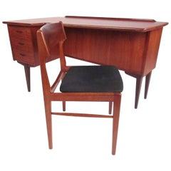 Mid-Century Peter Lovig Nielson Danish Teak Desk with Chair