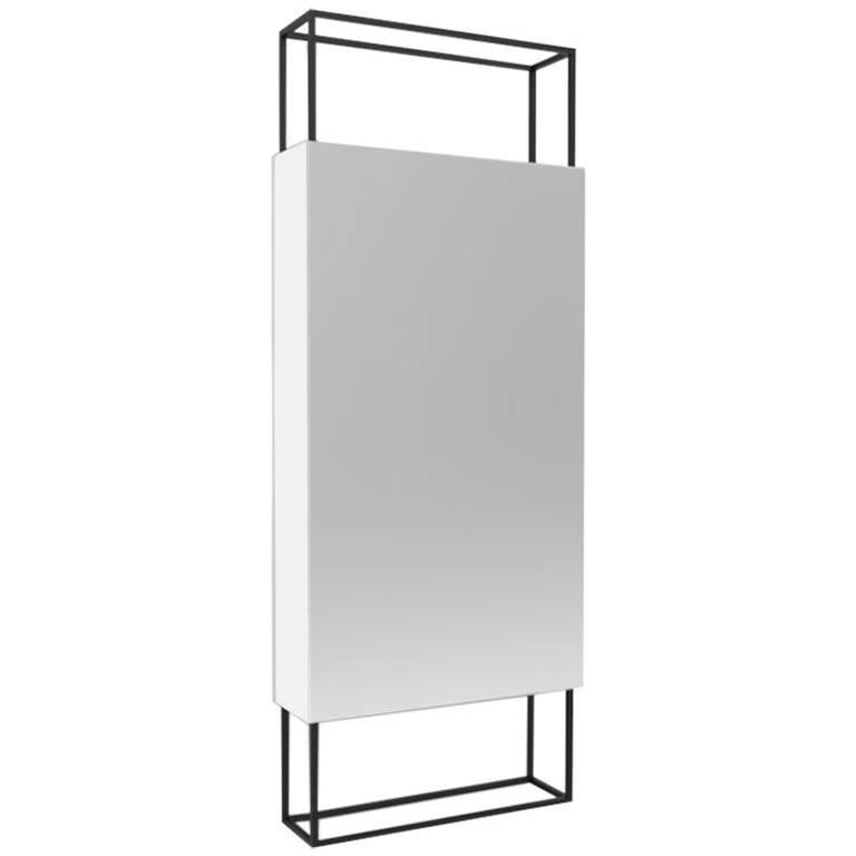 Contemporary Minimal Black Steel Vertical Abstract Frame Mirror, USA