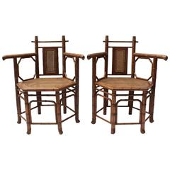 Pair of Hexagonal Bamboo and Cane Armchairs