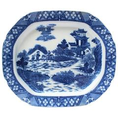 19th Century English Blue and White Transfer Ware Platter