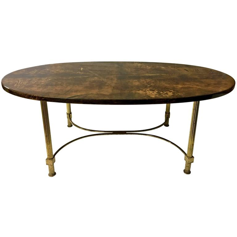 Hollywood Regency Goatskin And Brass Oval Coffee Table By Aldo Tura 1
