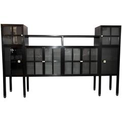 """Leon Rosen for Pace Collection """"Piombo"""" Cerused Wood and Glass Cabinet"""
