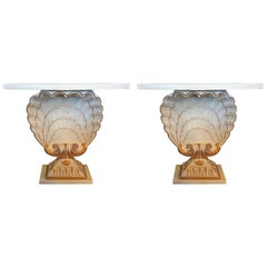 Pair of Maison Jansen Shell Form White and Gilt Demilune Console Tables