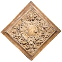 19th Century Stripped and Bleached Carved Square Panel from France