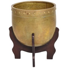 Brass and Rosewood Decorative Architectural Planter