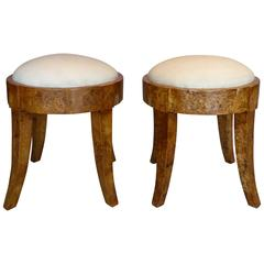 Biedermeier 19th Century Solid Elm Burlwood Stools with Goatskin, Pair