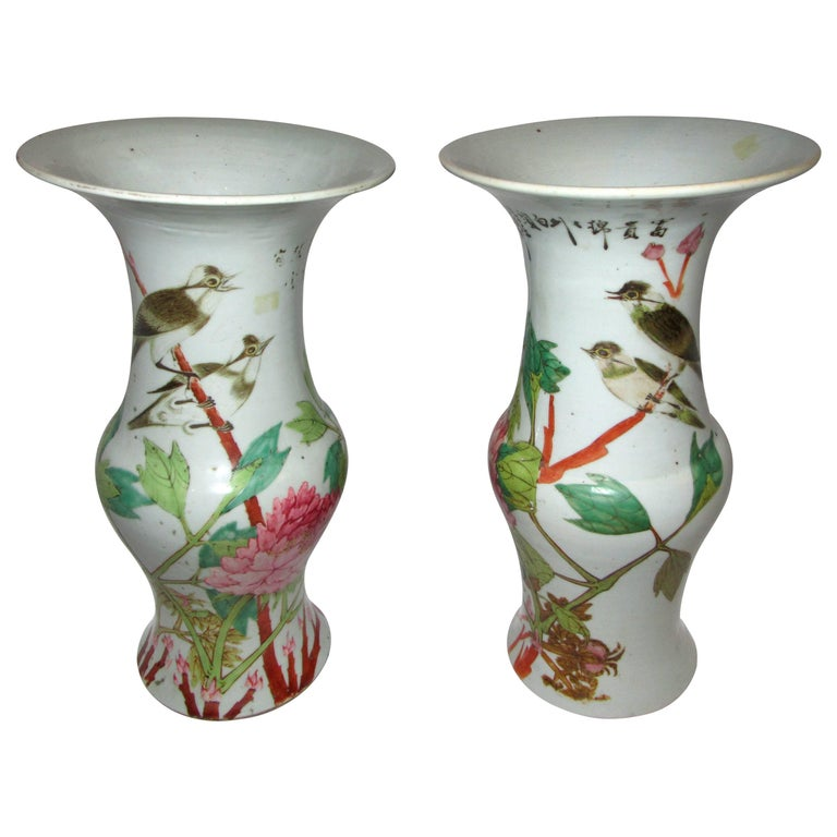 Pair of Chinese Qing Dynasty Porcelain Temple Vases For Sale