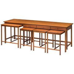 John Kandell, Rare and Early Swedish Low Sideboard and Nesting Teak Table Set