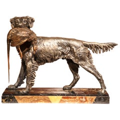 19th Century French Spelter Hunt Dog with Bird Sculpture on Marble Base