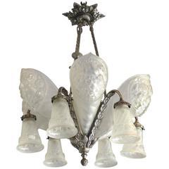 French Art Deco Nickel Bronze Art Glass Chandelier by Charles Schneider