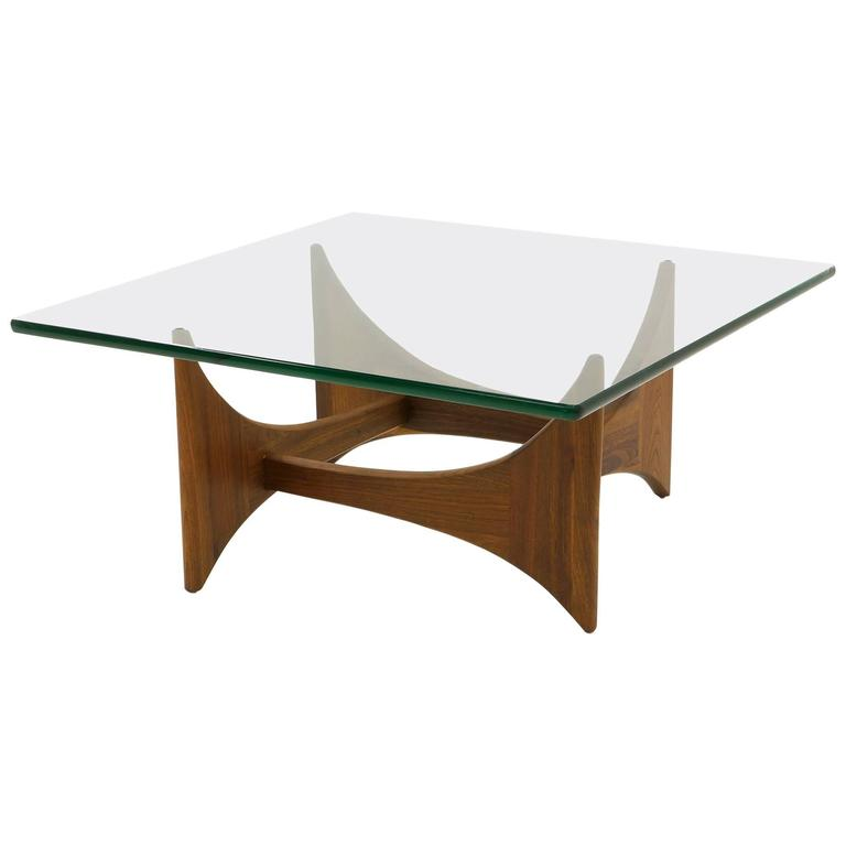 Square Glass and Walnut Coffee Table by Adrian Pearsall for Craft Associates