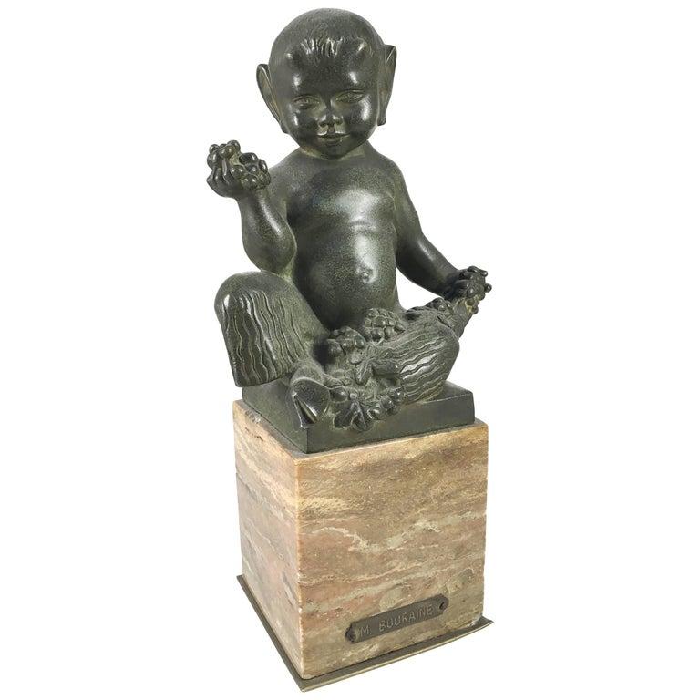 Seated Faun Bronze, Marcel-Andre Bouraine, circa 1930 For Sale
