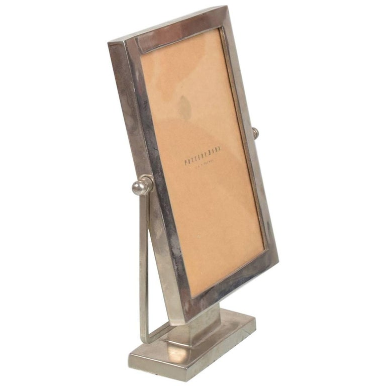 Pewter Picture Frame on Base, Antique Style