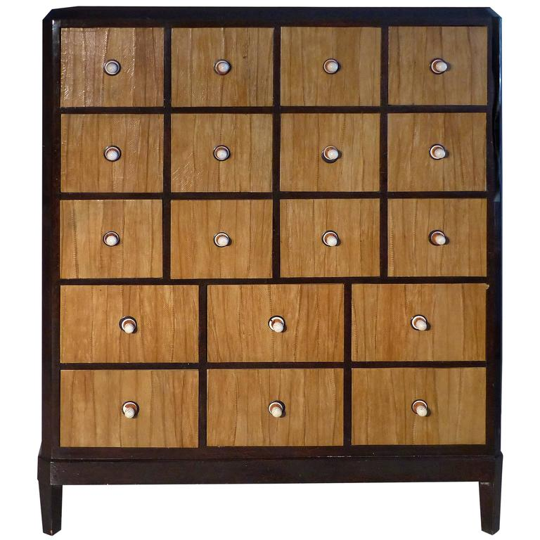 French Macassar Art Deco Cabinet with Cobra Skin Drawers and Bone Handles