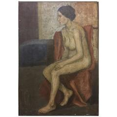 Vintage Oil on Canvas Painting of a Female Nude Signed Micheel Woman in Her Room