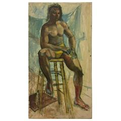Vintage Oil on Canvas Painting of an African American Male in an Artist's Studio