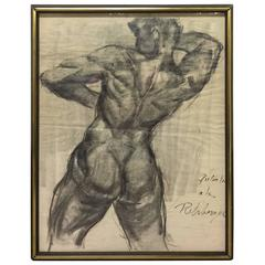 Vintage Mid-Century Style Charcoal Drawing of a Nude Male Homage to Rehberger