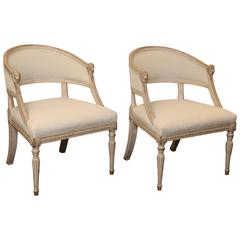 Pair of 19th Century Gustavian Barrel Back Chairs