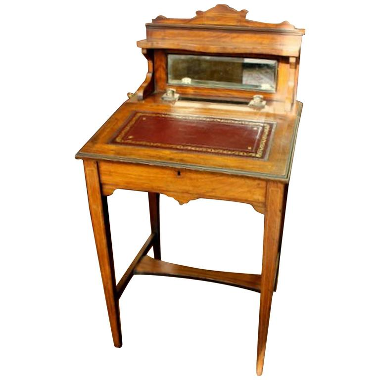 Antique English Inlaid Rosewood Child's or Ladies Diminutive Writing Desk - Antique French Ladies Writing Desk For Sale At 1stdibs