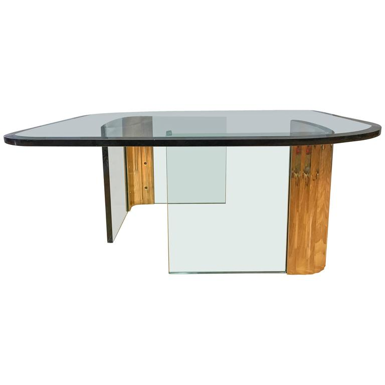 Asymmetrical Brass and Glass Coffee Table in the Style of Leon Rosen for Pace