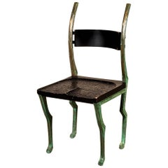 "Rare ""Deer Chair"" by Laura Johnson Drake in Patinated Bronze and Wood"