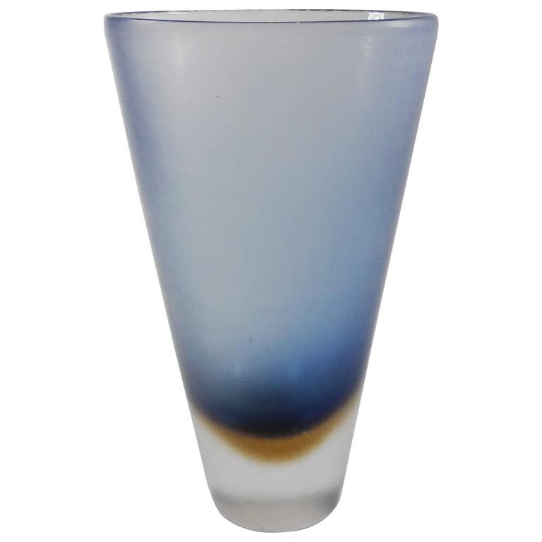 Mid Century Venini Blue And Brown Inciso Glass Vase By Paolo Venini