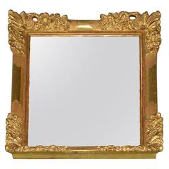 Mirror with Gold-Plated Wood Frame and Flowers Decor