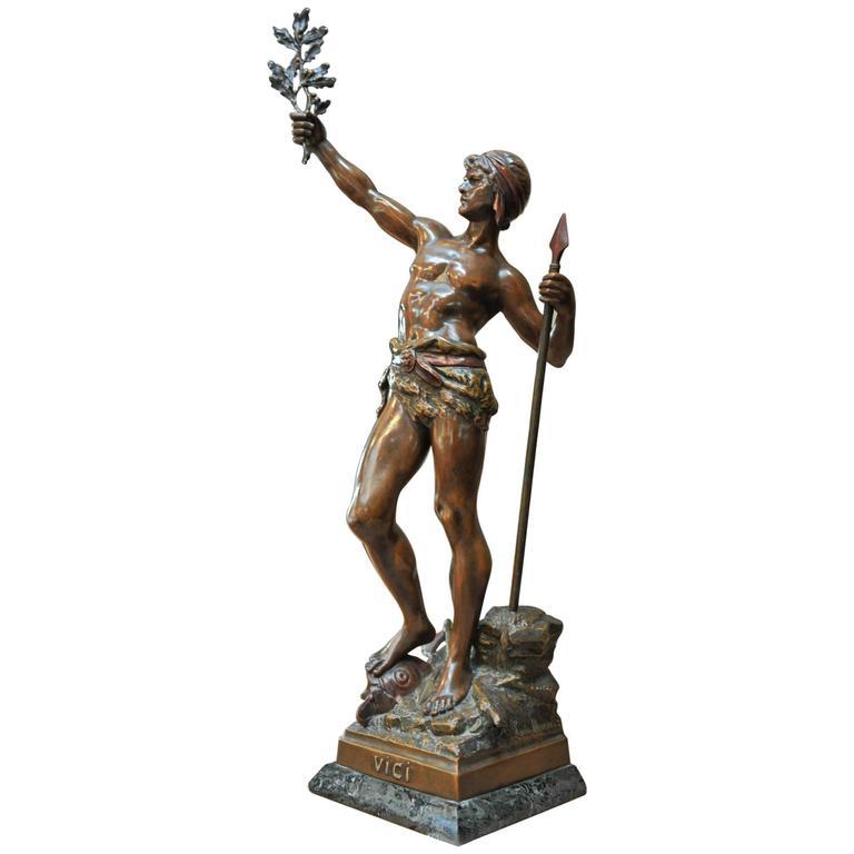 """19th Century Man Statue """"VICI """" by Louis Moreau"""