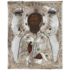 Jewelled, Parcel-Gilt and Silver Russian Icon of St. Nicholas