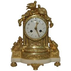 French 19th Century Bronze Gilt and Marble Mantel Clock