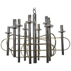 Modernist Sculpture Chandelier Sciolari, Design 1970 Brass Steel Italian Design