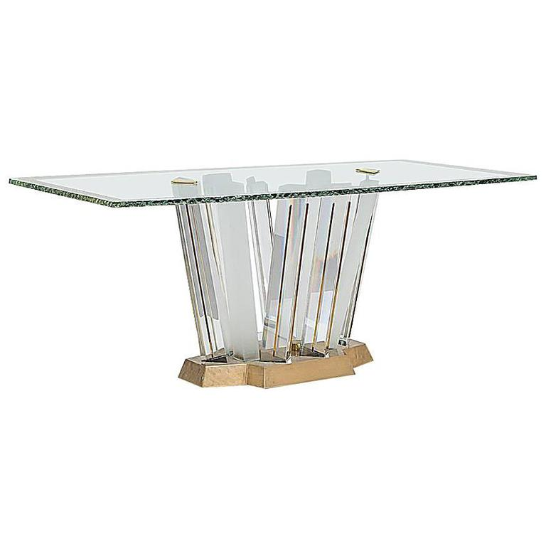 Superb lucite and bronze dining table with unique glass for Unusual glass dining tables