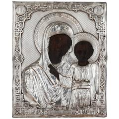 Antique Russian Icon Depicting the Madonna and Child