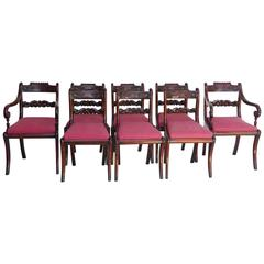 19th Century Set of Eight Regency Mahogany Dining Chairs