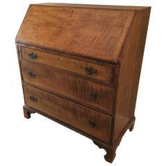 Wonderful Late 18th Century Tiger Maple and Cherry Slant Front Desk Secretary