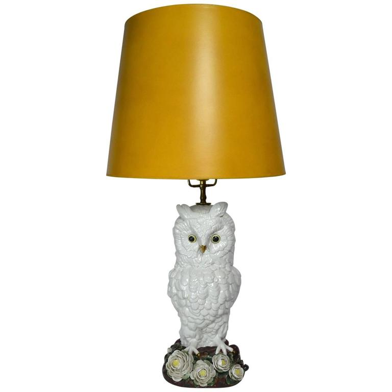 Ceramic Majolica Owl Lamp Made In Italy For Mottahedeh For Sale