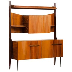 Italian Rosewood Mid-century Modern Cupboard with Dry Bar