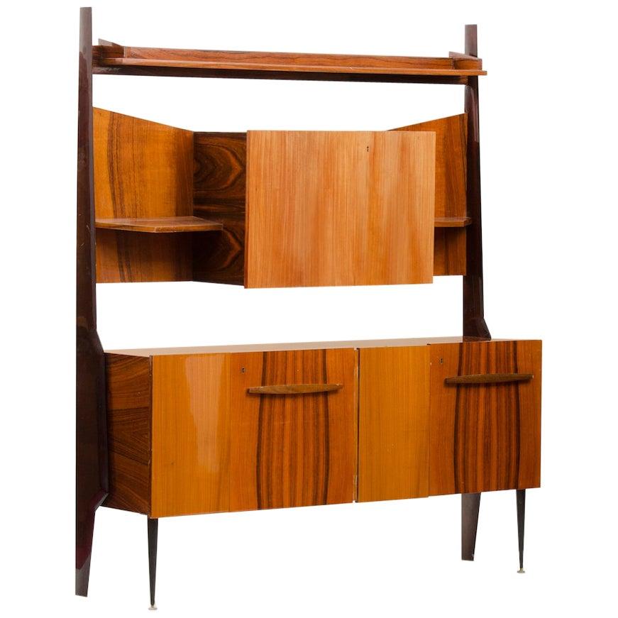 Italian Rosewood Mid-century Modern Cupboard with Dry Bar