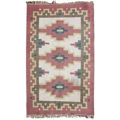 Swedish Röllakan or Rolakan Carpet Handwoven, Wool, Signed GK