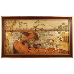 20th Century Orientalist Painting Landscape with Characters