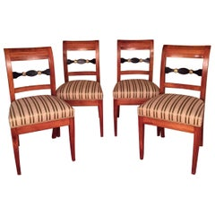 19th Century Set of Biedermeier Chairs Cherrywood 1830