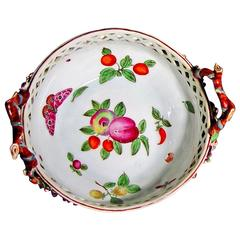 Antique Chelsea Porcelain Reticulated Circular Basket, Probably James Giles