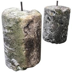 Pair of French, 18th Century Carved Stone Rollers/Gate Piers
