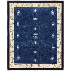 Antique Blue Chinese Rug. Size: 8 ft 2 in x 9 ft 8 in (2.49 m x 2.95 m)