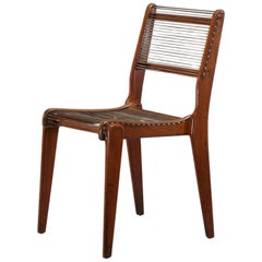 Elegant Studio Crafted Side Chair with a Woven String Seating, USA