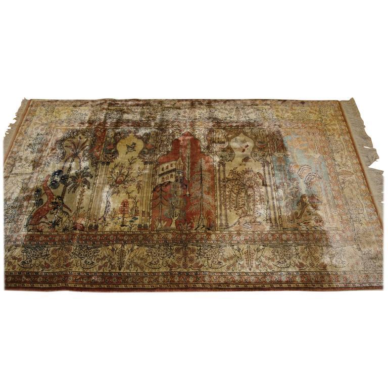 Antique Anatolian Kayseri 'Art Silk' Saf Prayer Rug For